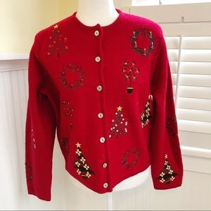 Karen Scott Pure Wool Beaded Christmas Cardigan